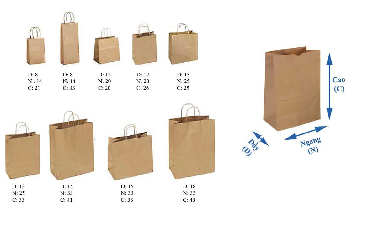 kích thước in túi giấy cho  shop thời trang